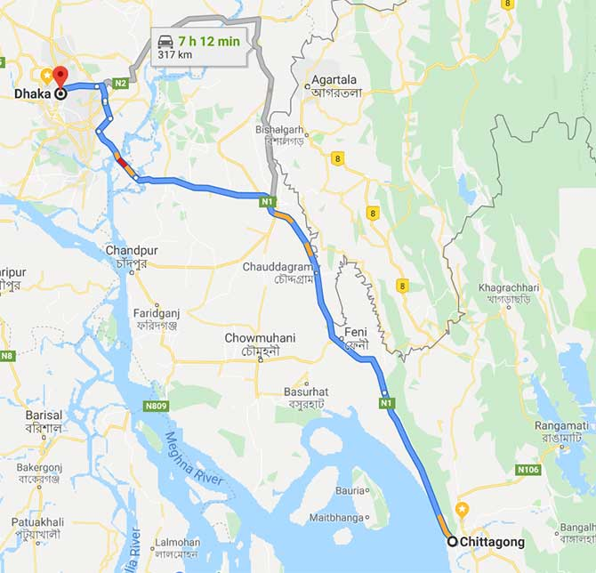 chittagong to Dhaka Train Route Map