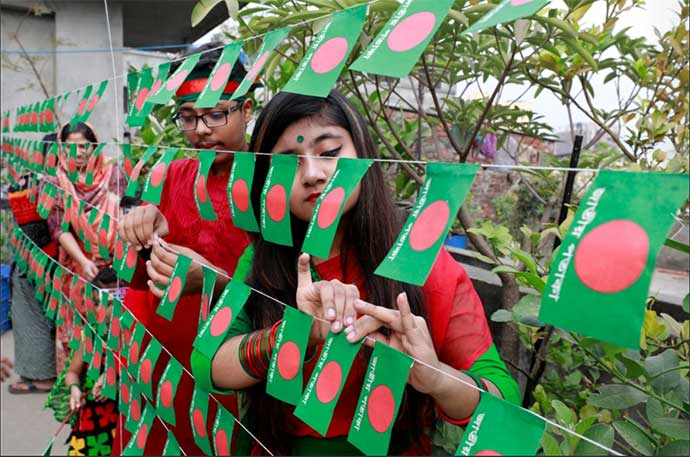 Girls and Boys Decorating Institution on the eve of Victory of Bangladesh