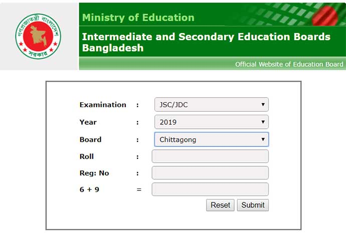 Chittagong Education Board JSC Results