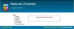NU Honours 1st Year Result Check 1st Step