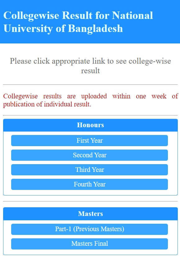 Masters Final Year Result College Wise
