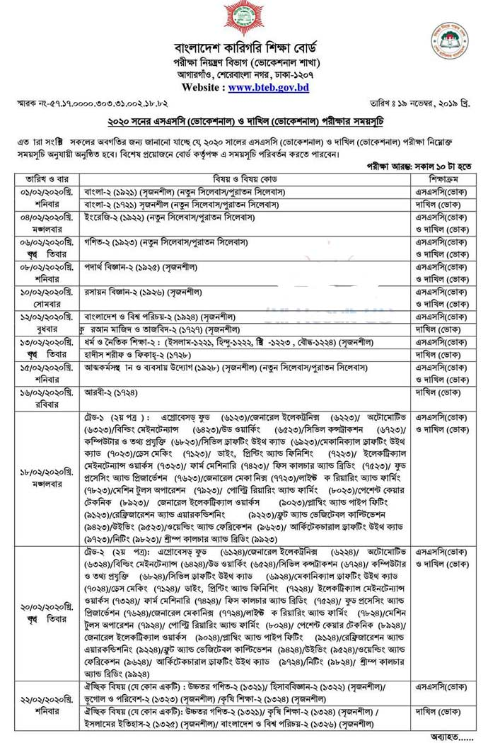 SSC Vocational Routine 2020 1st part